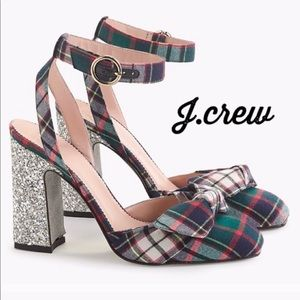 J. Crew Harlow Ankle Strap Pumps in Festive Plaid